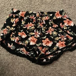 Black floral flowy shorts with drawstrings